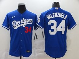 Mens Mlb Los Angeles Dodgers #34 Fernando Valenzuela Blue Flex Base Nike Jersey