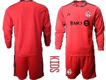 Youth 20-21 Soccer Club Toronto Fc ( Custom Made ) Red Goalkeeper Long Sleeve Suit Jersey