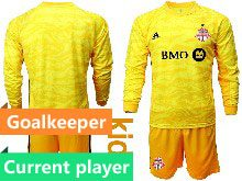 Youth 20-21 Soccer Club Toronto Fc Current Player Yellow Goalkeeper Long Sleeve Suit Jersey