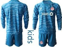 Youth 20-21 Soccer Club Toronto Fc ( Custom Made ) Blue Goalkeeper Long Sleeve Suit Jersey