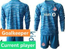 Youth 20-21 Soccer Club Toronto Fc Current Player Blue Goalkeeper Long Sleeve Suit Jersey