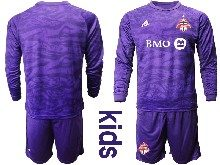 Youth 20-21 Soccer Club Toronto Fc ( Custom Made ) Purple Goalkeeper Long Sleeve Suit Jersey