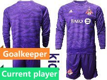 Youth 20-21 Soccer Club Toronto Fc Current Player Purple Goalkeeper Long Sleeve Suit Jersey
