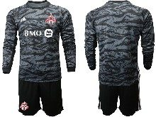 Mens 20-21 Soccer Club Toronto Fc ( Custom Made ) Black Goalkeeper Long Sleeve Suit Jersey