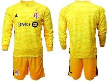 Mens 20-21 Soccer Club Toronto Fc ( Custom Made ) Yellow Goalkeeper Long Sleeve Suit Jersey