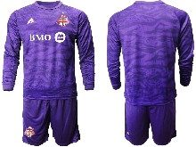 Mens 20-21 Soccer Club Toronto Fc ( Custom Made ) Purple Goalkeeper Long Sleeve Suit Jersey