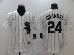 Mens Mlb Chicago White Sox #24 Grandal White Stripe Cool Base Nike Jersey