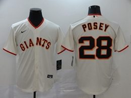 Mens San Francisco Giants #28 Buster Posey White Cool Base Nike Jersey