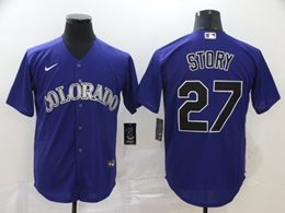 Mens Mlb Colorado Rockies #27 Trevor Story Purple Cool Base Nike Jersey