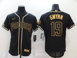 Mens Mlb San Diego Padres #19 Tony Gwynn Army Black Throwbacks Golden Flex Base Nike Jersey