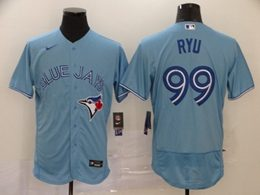 Mens Mlb Toronto Blue Jays #99 Ryu Light Blue Flex Base Nike Jersey