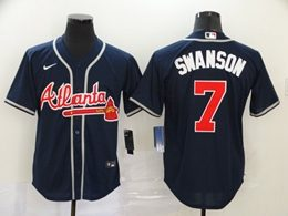 Mens Mlb Atlanta Braves #7 Dansby Swanson Navy Blue Cool Base Nike Jersey