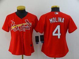 Women Mlb St.louis Cardinals #4 Yadier Molina Red Cool Base Nike Jersey