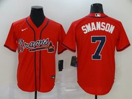 Mens Mlb Atlanta Braves #7 Dansby Swanson Red Cool Base Nike Jersey