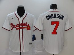 Mens Mlb Atlanta Braves #7 Dansby Swanson White Cool Base Nike Jersey