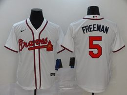 Mens Mlb Atlanta Braves #5 Freddie Freeman White Cool Base Nike Jersey