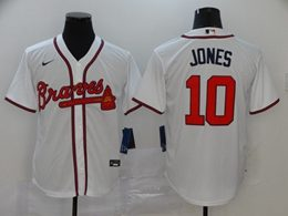 Mens Mlb Atlanta Braves #10 Chipper Jones White Cool Base Nike Jersey