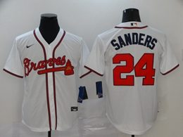 Mens Mlb Atlanta Braves #24 Deion Sanders White Cool Base Nike Jersey