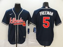 Mens Mlb Atlanta Braves #5 Freddie Freeman Navy Blue Cool Base Nike Jersey