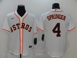 Mens Houston Astros #4 George Springer White Cool Base Nike Jersey