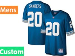 Mens Nfl Detroit Lions Custom Made Mitchell&ness Retired Player Legacy Blue Jersey