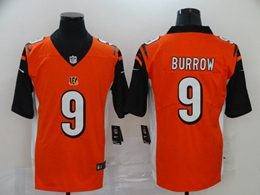 Mens Nfl Cincinnati Bengals #9 Joe Burrow 2020 Orange Vapor Untouchable Limited Jersey