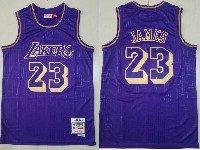 Mens Nba Los Angeles Lakers #23 Lebron James Purple Mitchell&ness Hardwood Classics Jersey