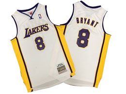 Mens Nba Los Angeles Lakers #8 Kobe Bryant White 2003-04 Mitchell&ness Hardwood Classics Jersey