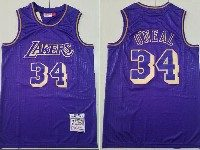 Mens Nba Los Angeles Lakers #34 Shaquille O'neal Purple Mitchell&ness Hardwood Classics Jersey