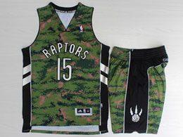 Mens Nba Toronto Raptors #15 Vince Carter Green Camo Adidas Swingman Suit Jersey