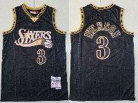 Mens Nba Philadelphia 76ers #3 Allen Iverson Black 2000-01 Mitchell&ness Hardwood Classics Jersey