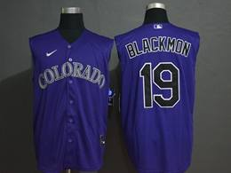 Mens Mlb Colorado Rockies #19 Charlie Blackmon Purple 2020 Refreshing Sleeveless Fan Cool Base Nike Jersey