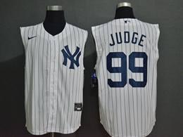 Mens Mlb New York Yankees #99 Aaron Judge White Stripe 2020 Refreshing Sleeveless Fan Cool Base Nike Jersey