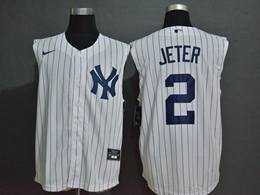 Mens Mlb New York Yankees #2 Derek Jeter White Stripe 2020 Refreshing Sleeveless Fan Cool Base Nike Jersey