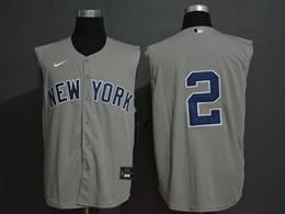 Mens Mlb New York Yankees #2 Derek Jeter Gray 2020 Refreshing Sleeveless Fan Cool Base Nike Jersey