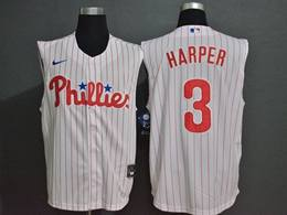 Mens Mlb Philadephia Phillies #3 Bryce Harper White Stripe 2020 Refreshing Sleeveless Fan Cool Base Nike Jersey