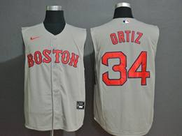 Mens Mlb Boston Red Sox #34 David Ortiz Gray 2020 Refreshing Sleeveless Fan Cool Base Nike Jersey