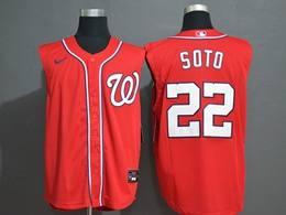 Mens Mlb Washington Nationals #22 Juan Soto Red 2020 Refreshing Sleeveless Fan Cool Base Nike Jersey