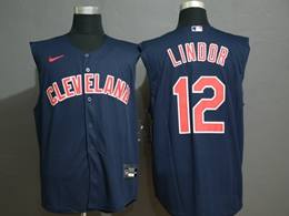 Mens Mlb Cleveland Indians #12 Francisco Lindor Blue 2020 Refreshing Sleeveless Fan Cool Base Nike Jersey