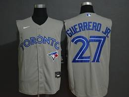 Mens Mlb Toronto Blue Jays #27 Guerrero Jr. Gray 2020 Refreshing Sleeveless Fan Cool Base Nike Jersey