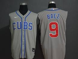 Mens Mlb Chicago Cubs #9 Javier Baez Gray (cubs On Front) 2020 Refreshing Sleeveless Fan Cool Base Nike Jersey