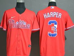 Mens Mlb Philadephia Phillies #3 Bryce Harper 2020 Red Printing Cool Base Nike Jersey