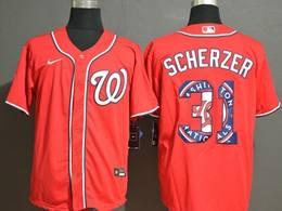 Mens Mlb Washington Nationals #31 Max Scherzer 2020 Red Printing Cool Base Nike Jersey