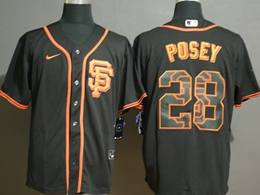 Mens San Francisco Giants #28 Buster Posey 2020 Black Printing Cool Base Nike Jersey