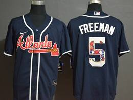 Mens Mlb Atlanta Braves #5 Freddie Freeman 2020 Blue Printing Cool Base Nike Jersey