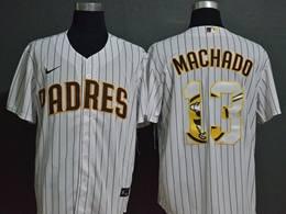 Mens Mlb San Diego Padres #13 Manny Machado 2020 White Stripe Printing Cool Base Nike Jersey