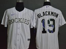 Mens Mlb Colorado Rockies #19 Charlie Blackmon 2020 White Stripe Printing Cool Base Nike Jersey