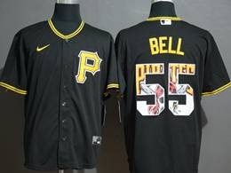 Mens Mlb Pittsburgh Pirates #55 Josh Bell 2020 Black Printing Cool Base Nike Jersey