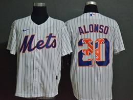Mens Mlb New York Mets #20 Pete Alonso 2020 White Stripe Printing Cool Base Nike Jersey