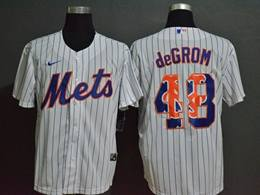 Mens Mlb New York Mets #48 Jacob Degrom 2020 White Stripe Printing Cool Base Nike Jersey